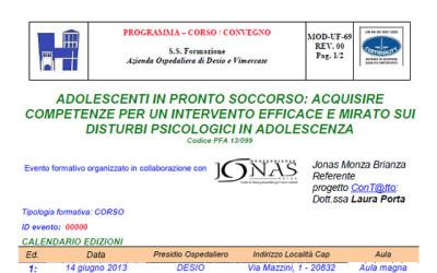 """Corso ECM """"Adolescenti in Pronto Soccorso"""", 14 giugno 2013"""